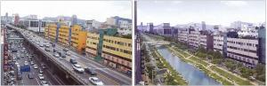 Transformación de la vialidad Cheonggye en la recuperación de un río y la creación de un parque lineal (fuente: Arquitetonico).